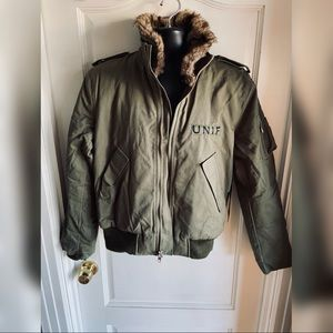 NWT UNIF Army Green Jacket w/ Fur Collar - NEW